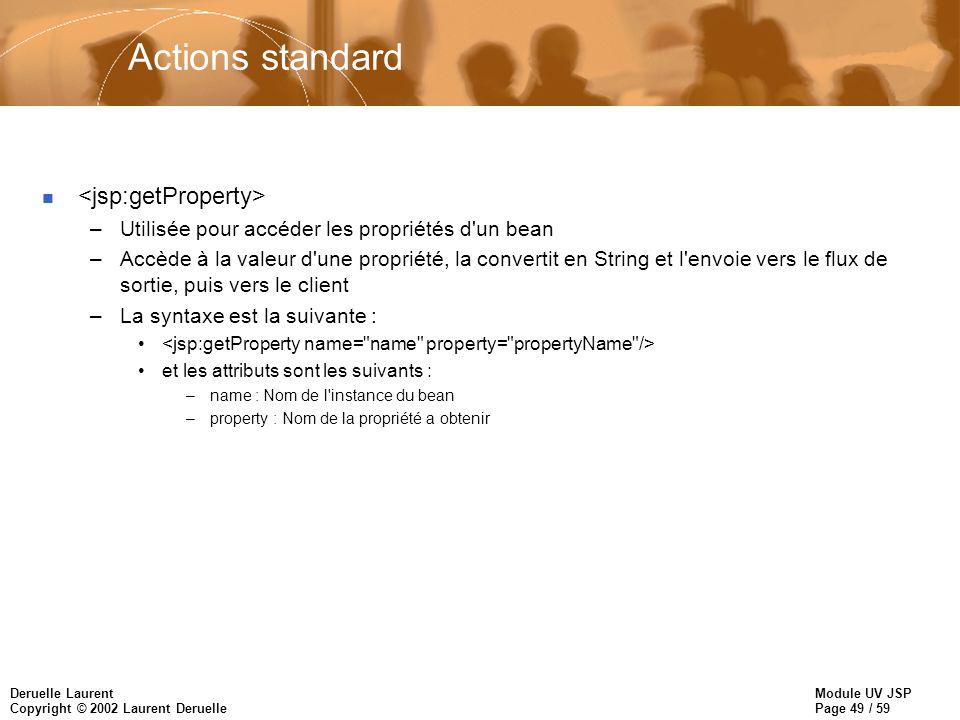 Actions standard <jsp:getProperty>