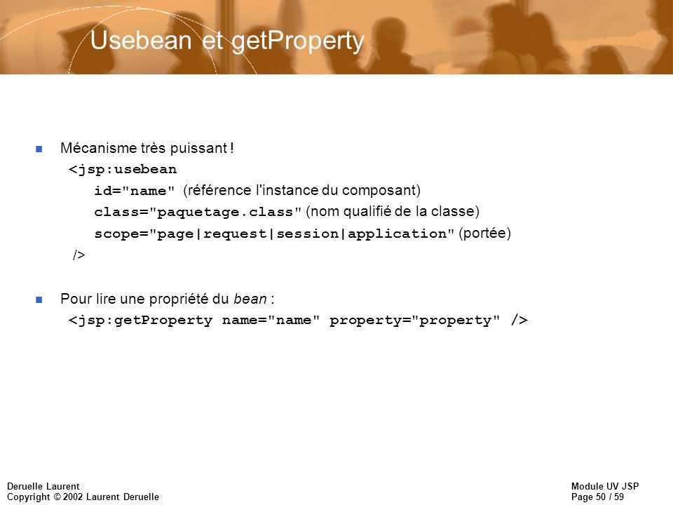 Usebean et getProperty
