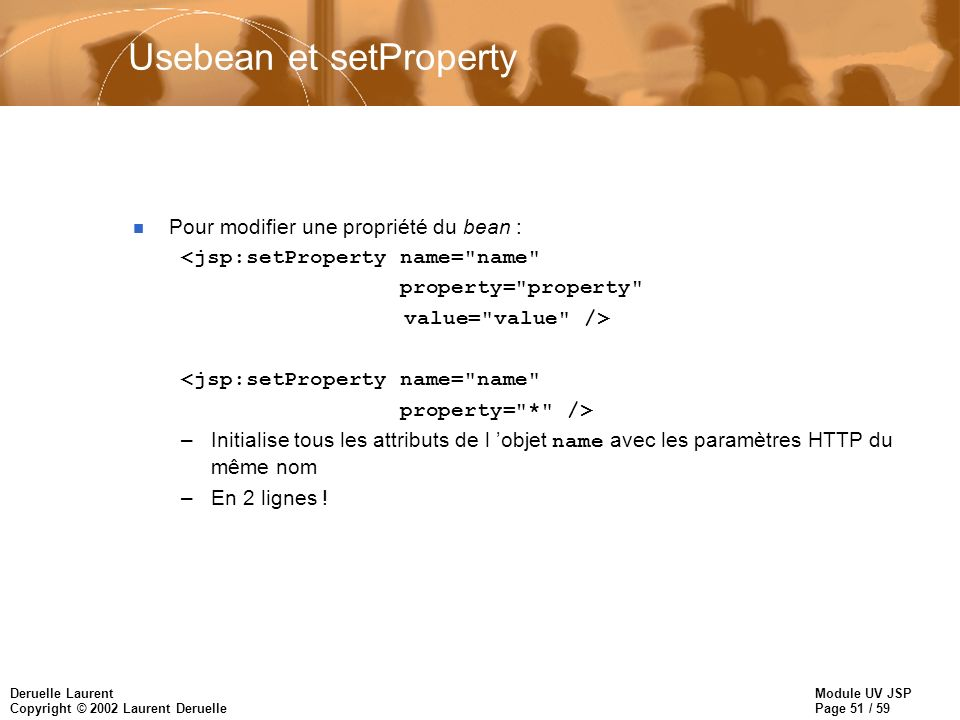Usebean et setProperty