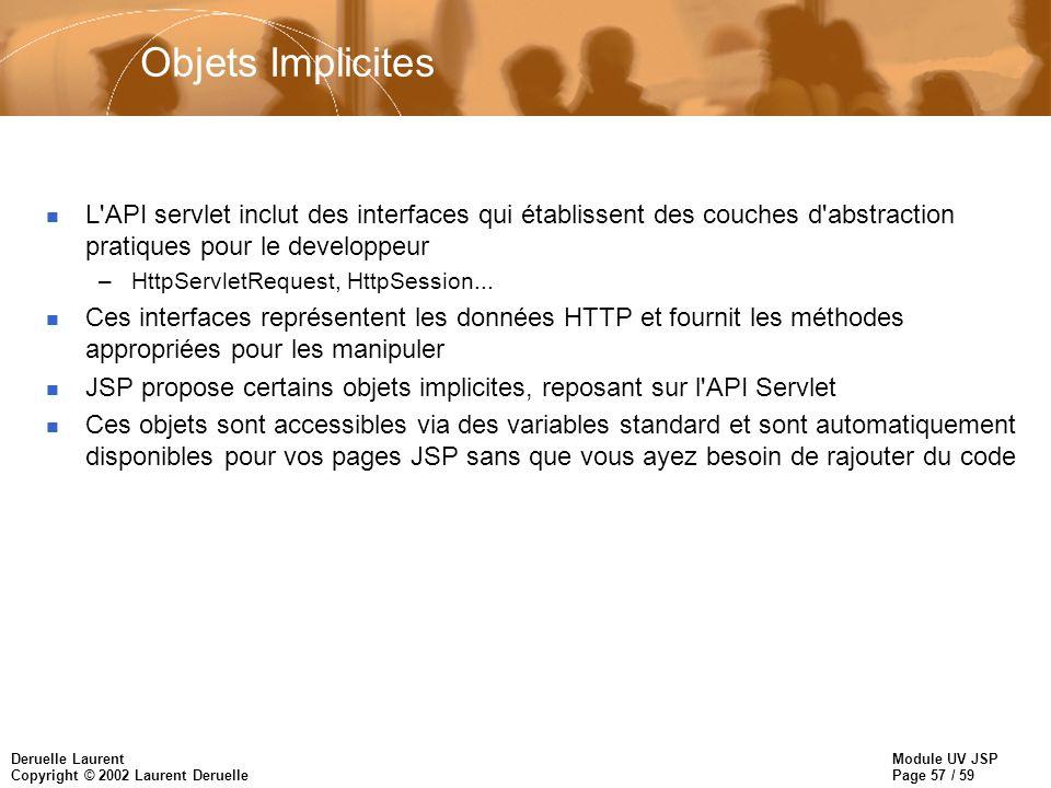 Objets Implicites L API servlet inclut des interfaces qui établissent des couches d abstraction pratiques pour le developpeur.