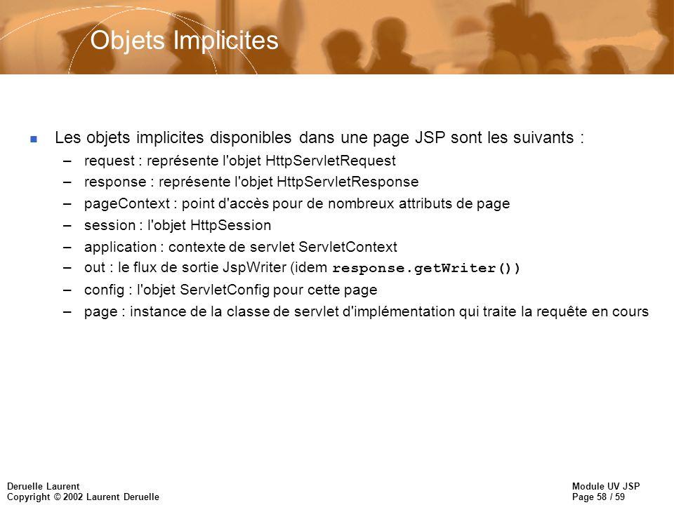 Objets Implicites Les objets implicites disponibles dans une page JSP sont les suivants : request : représente l objet HttpServletRequest.