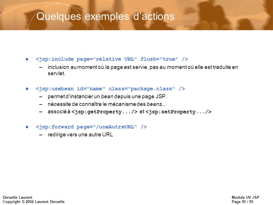 Quelques exemples d'actions