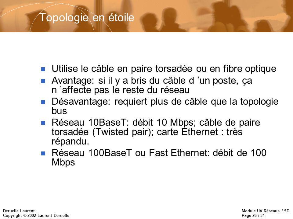 Topologie en étoile Utilise le câble en paire torsadée ou en fibre optique.