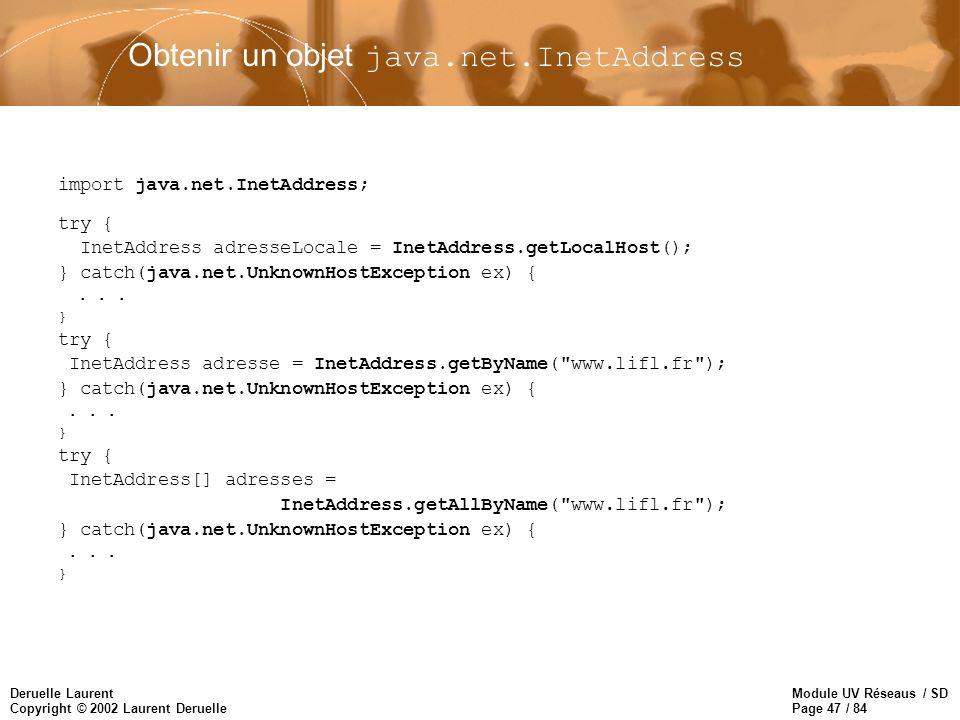 Obtenir un objet java.net.InetAddress