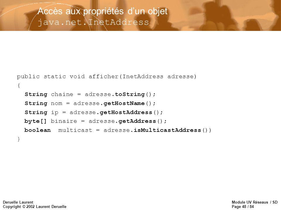 Accès aux propriétés d'un objet java.net.InetAddress