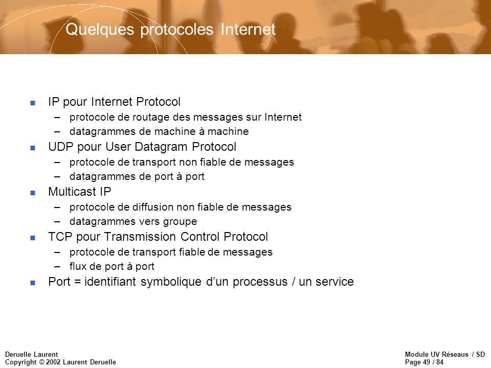 Quelques protocoles Internet