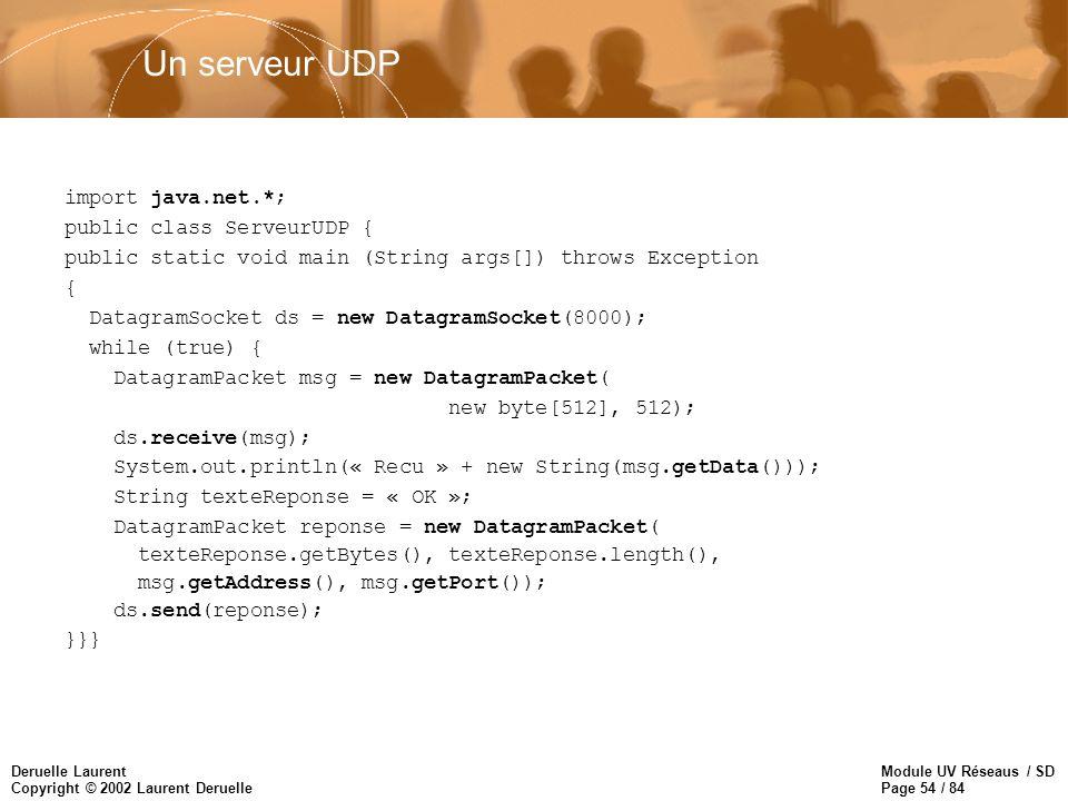 Un serveur UDP import java.net.*; public class ServeurUDP {