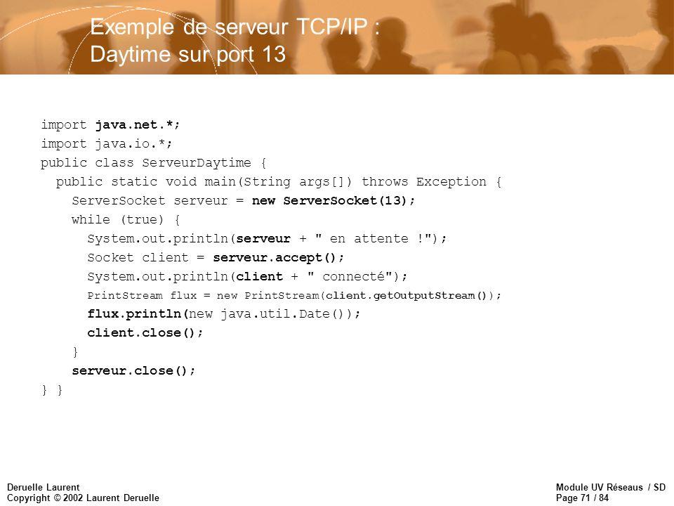 Exemple de serveur TCP/IP : Daytime sur port 13