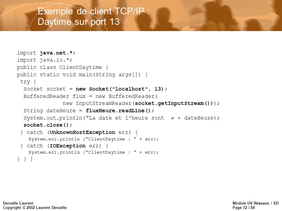 Exemple de client TCP/IP : Daytime sur port 13