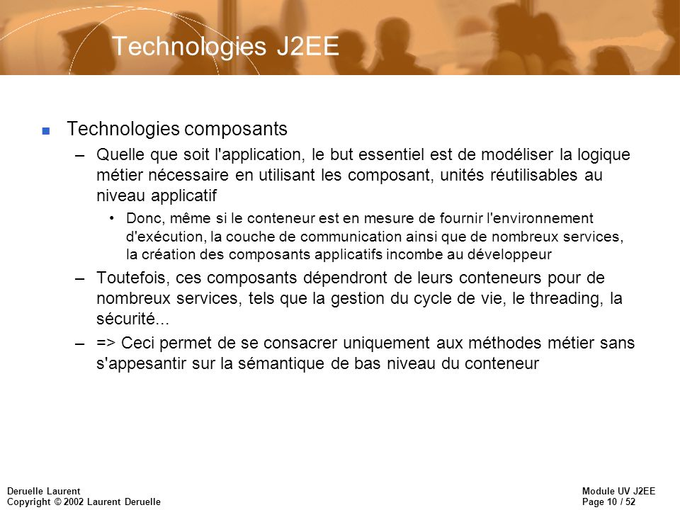 Technologies J2EE Technologies composants