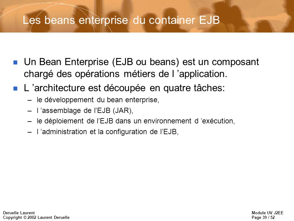 Les beans enterprise du container EJB