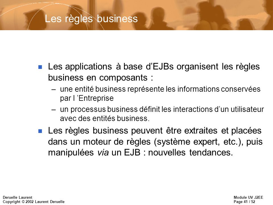 Les règles business Les applications à base d'EJBs organisent les règles business en composants :