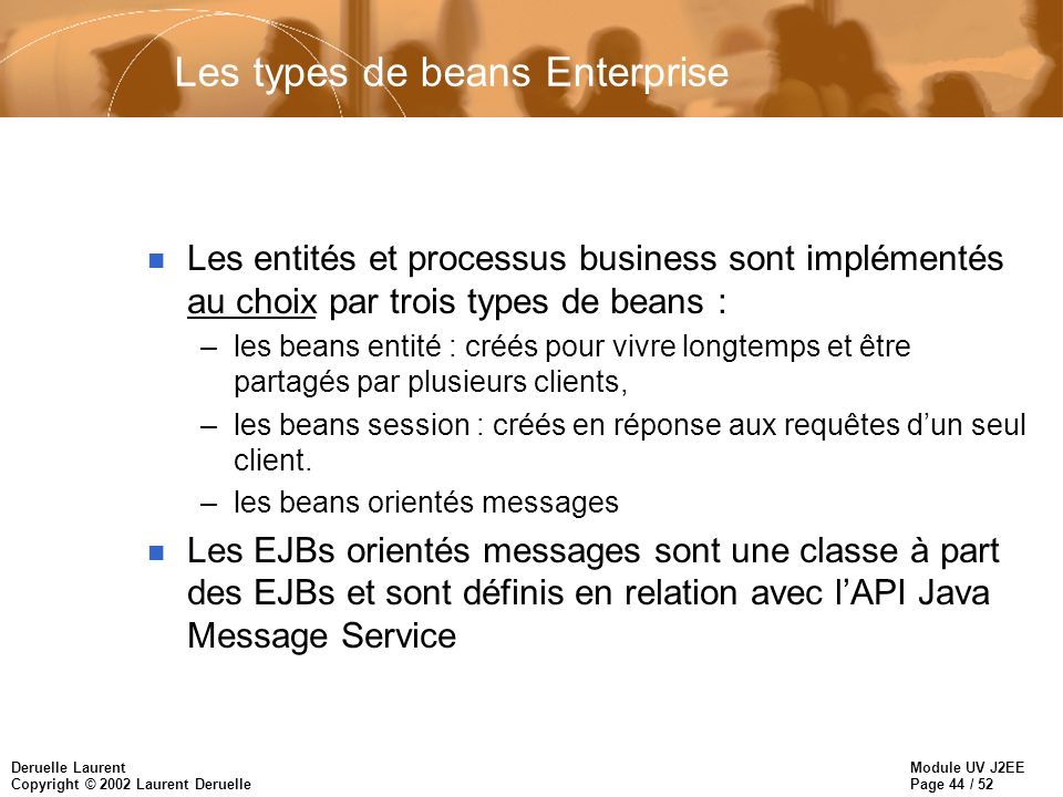 Les types de beans Enterprise