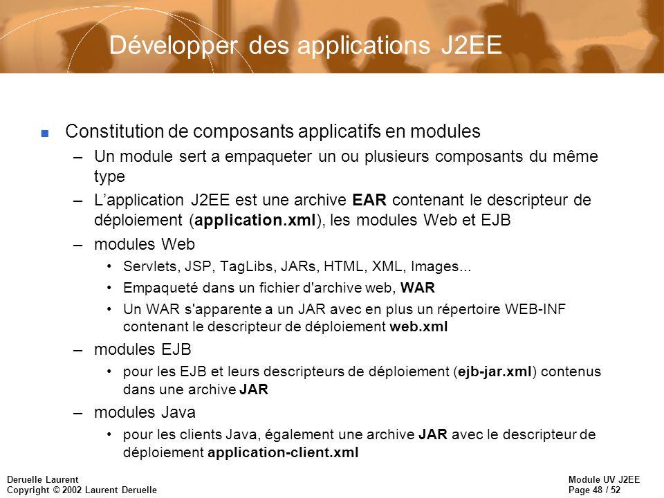 Développer des applications J2EE