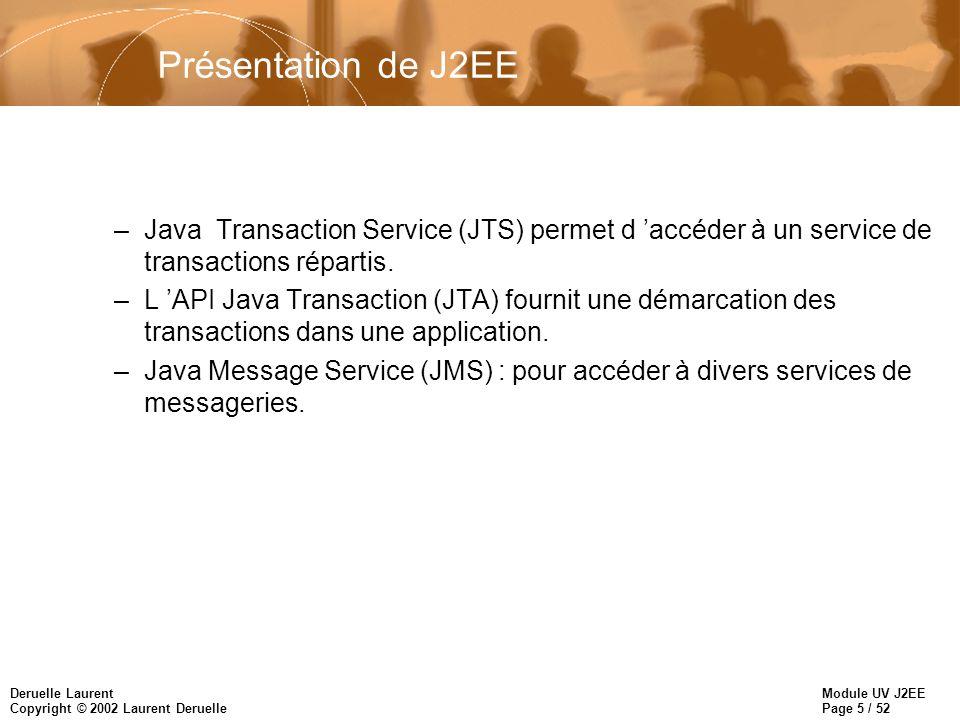 Présentation de J2EE Java Transaction Service (JTS) permet d 'accéder à un service de transactions répartis.
