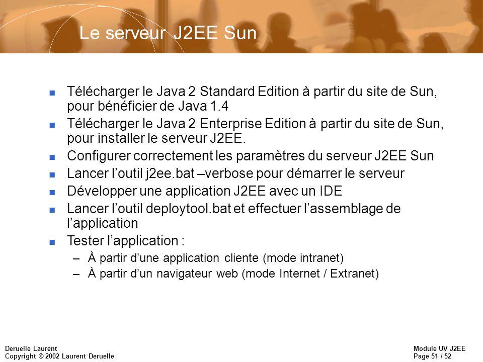 Le serveur J2EE Sun Télécharger le Java 2 Standard Edition à partir du site de Sun, pour bénéficier de Java 1.4.