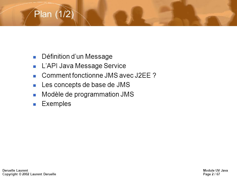 Plan (1/2) Définition d'un Message L'API Java Message Service