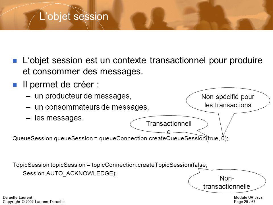 L'objet session L'objet session est un contexte transactionnel pour produire et consommer des messages.