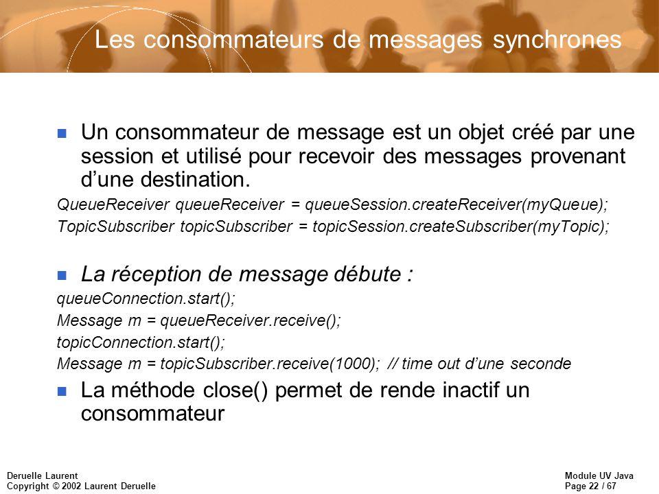 Les consommateurs de messages synchrones