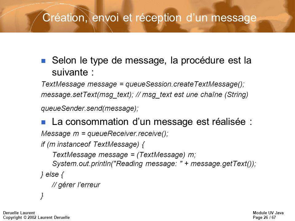 Création, envoi et réception d'un message
