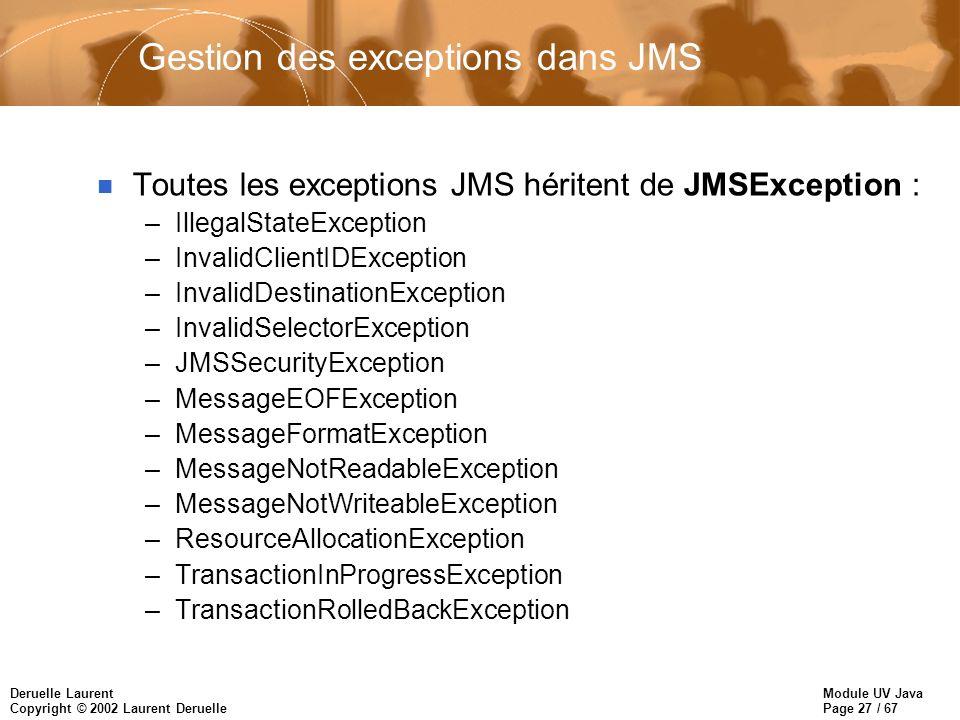Gestion des exceptions dans JMS