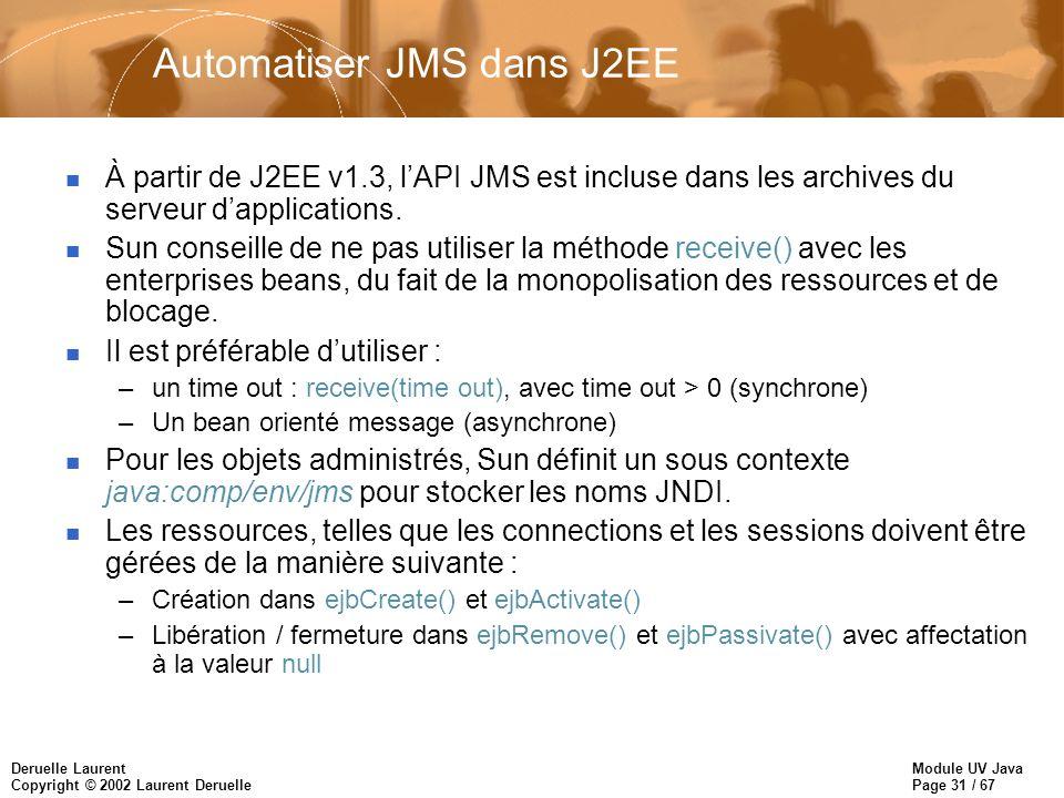Automatiser JMS dans J2EE