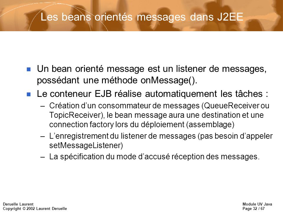 Les beans orientés messages dans J2EE