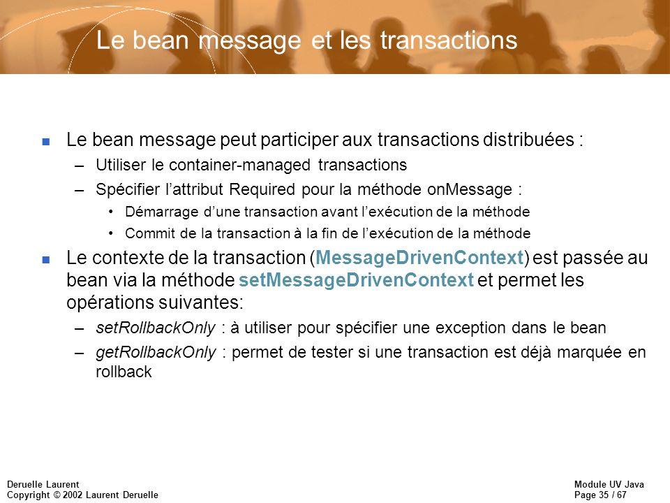 Le bean message et les transactions