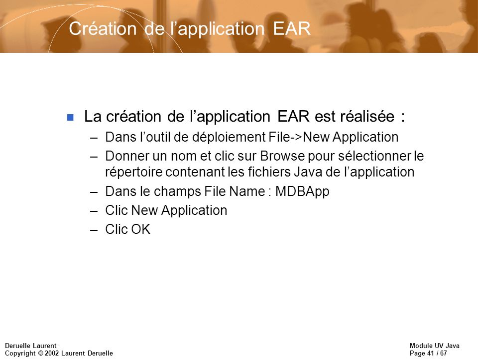 Création de l'application EAR