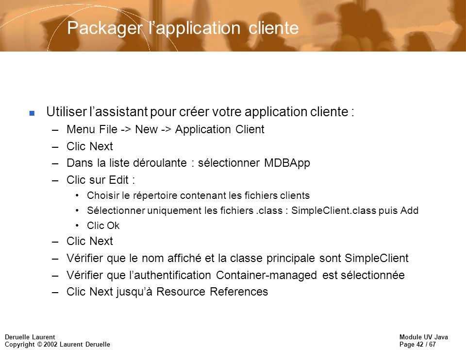 Packager l'application cliente