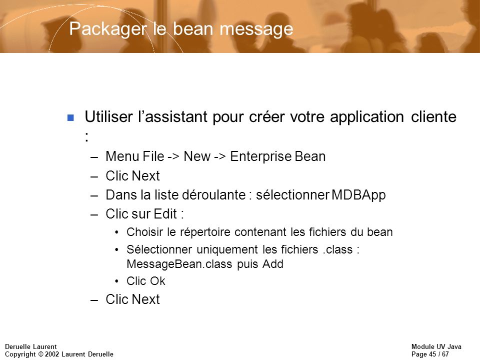 Packager le bean message
