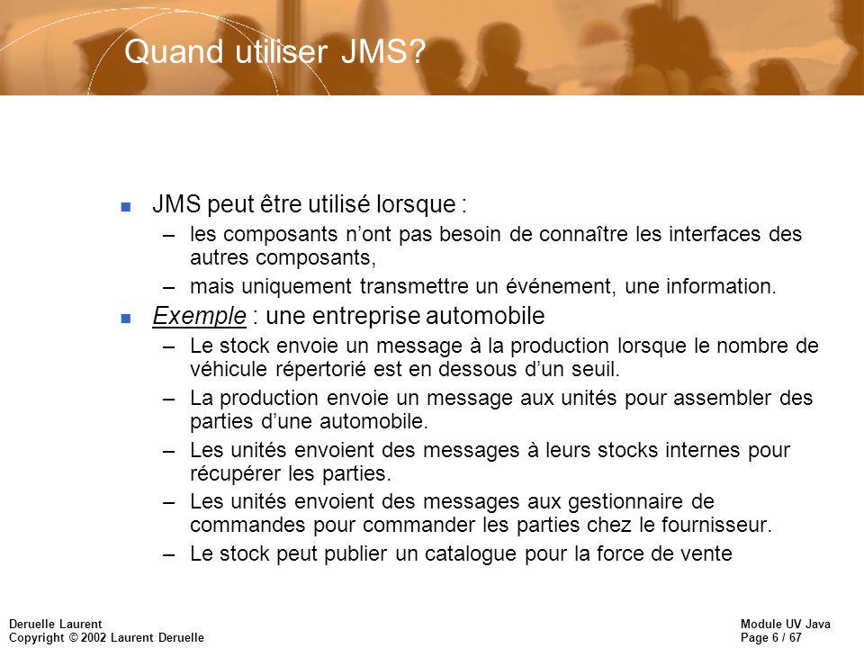 Quand utiliser JMS JMS peut être utilisé lorsque :