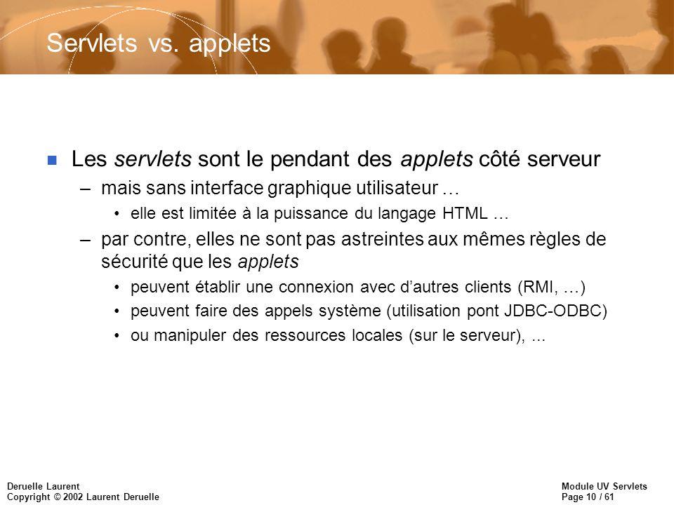 Servlets vs. applets Les servlets sont le pendant des applets côté serveur. mais sans interface graphique utilisateur …