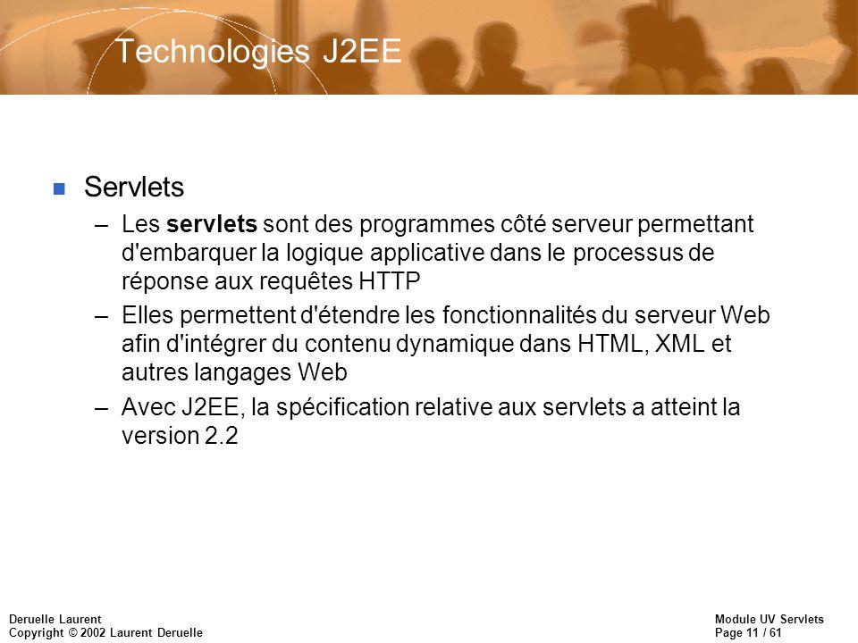 Technologies J2EE Servlets