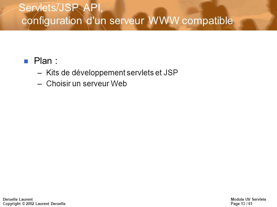 Servlets/JSP API, configuration d un serveur WWW compatible