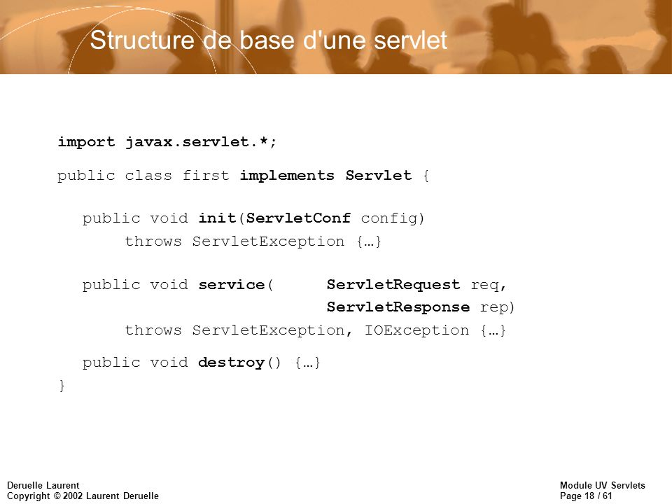 Structure de base d une servlet