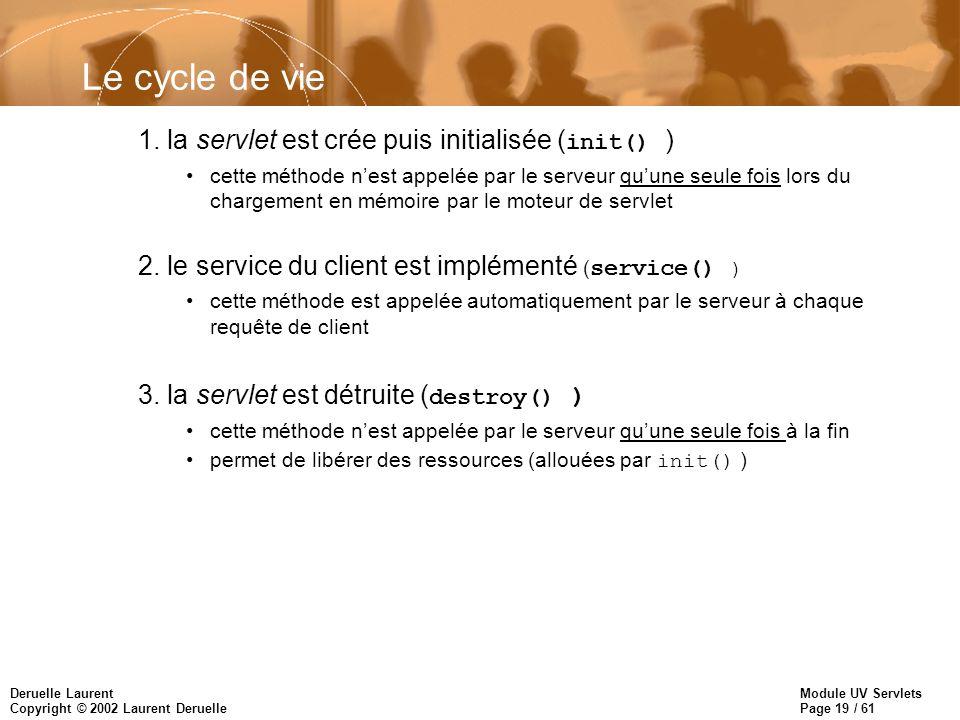 Le cycle de vie 1. la servlet est crée puis initialisée (init() )