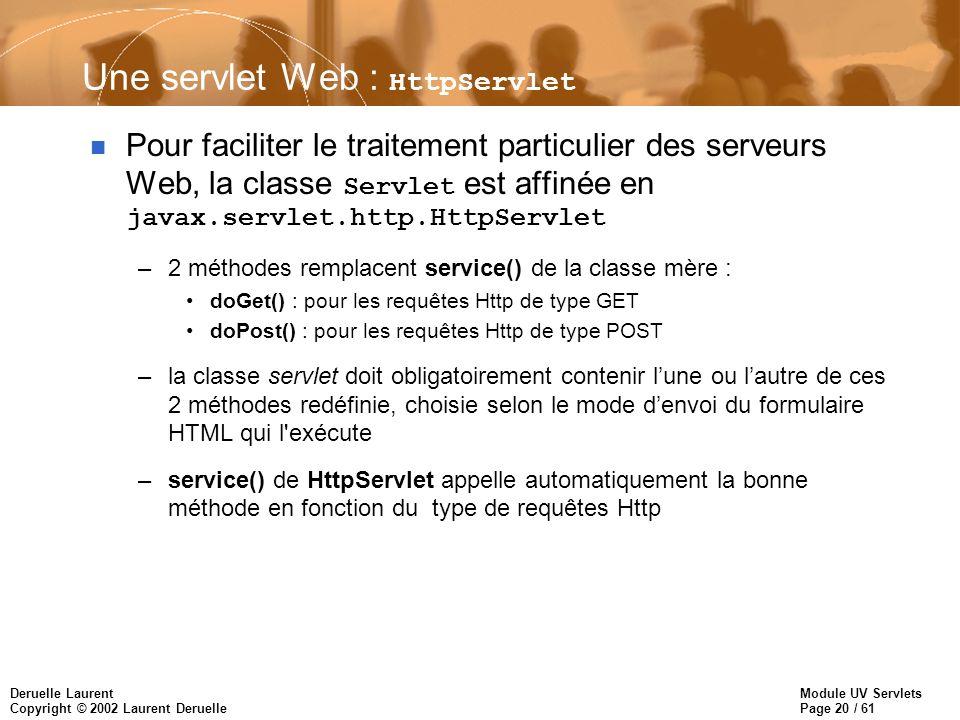 Une servlet Web : HttpServlet