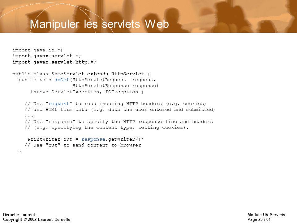 Manipuler les servlets Web