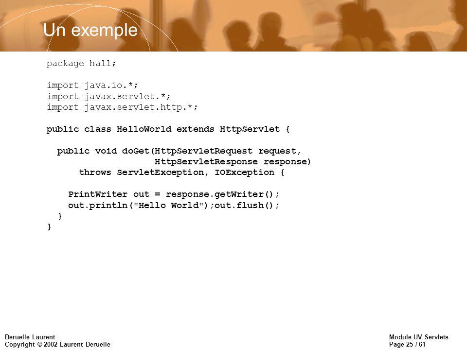 Un exemple package hall; import java.io.*; import javax.servlet.*;