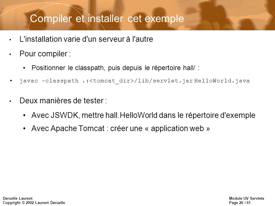 Compiler et installer cet exemple
