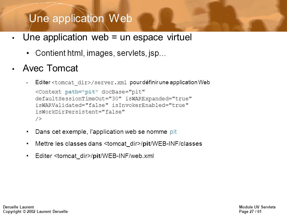 Une application Web Une application web = un espace virtuel