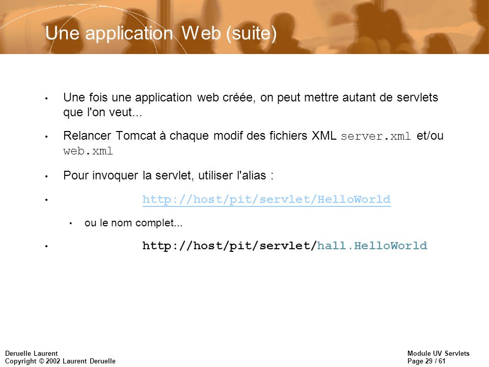 Une application Web (suite)