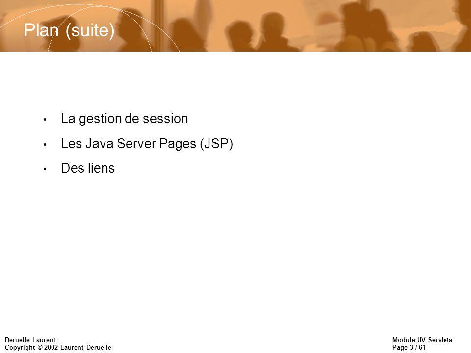 Plan (suite) La gestion de session Les Java Server Pages (JSP)