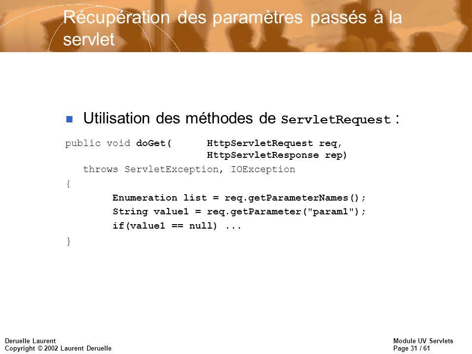 Récupération des paramètres passés à la servlet