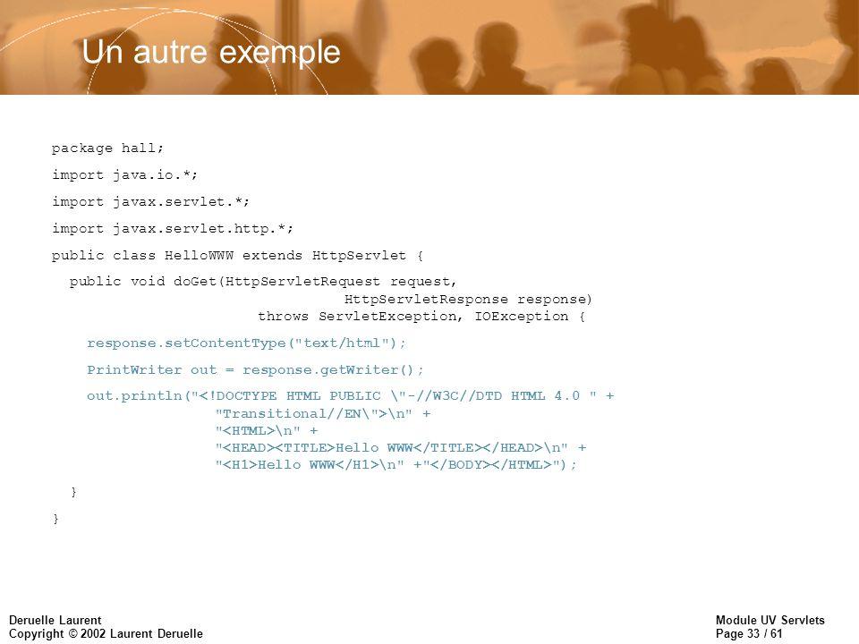 Un autre exemple package hall; import java.io.*;