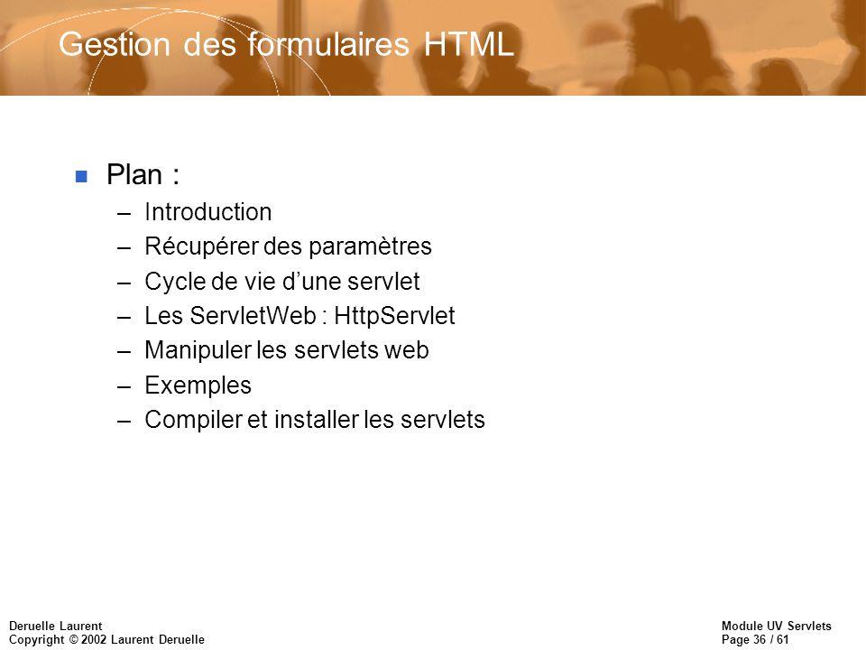 Gestion des formulaires HTML