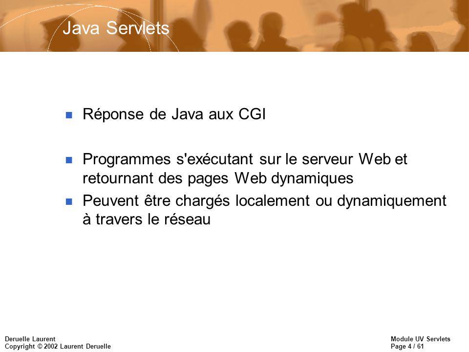 Java Servlets Réponse de Java aux CGI
