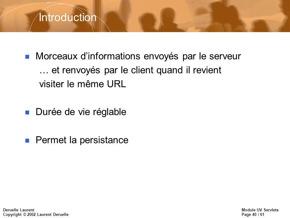 Introduction Morceaux d'informations envoyés par le serveur