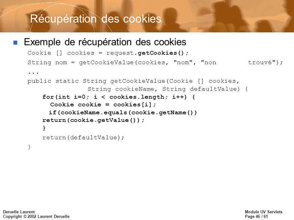 Récupération des cookies
